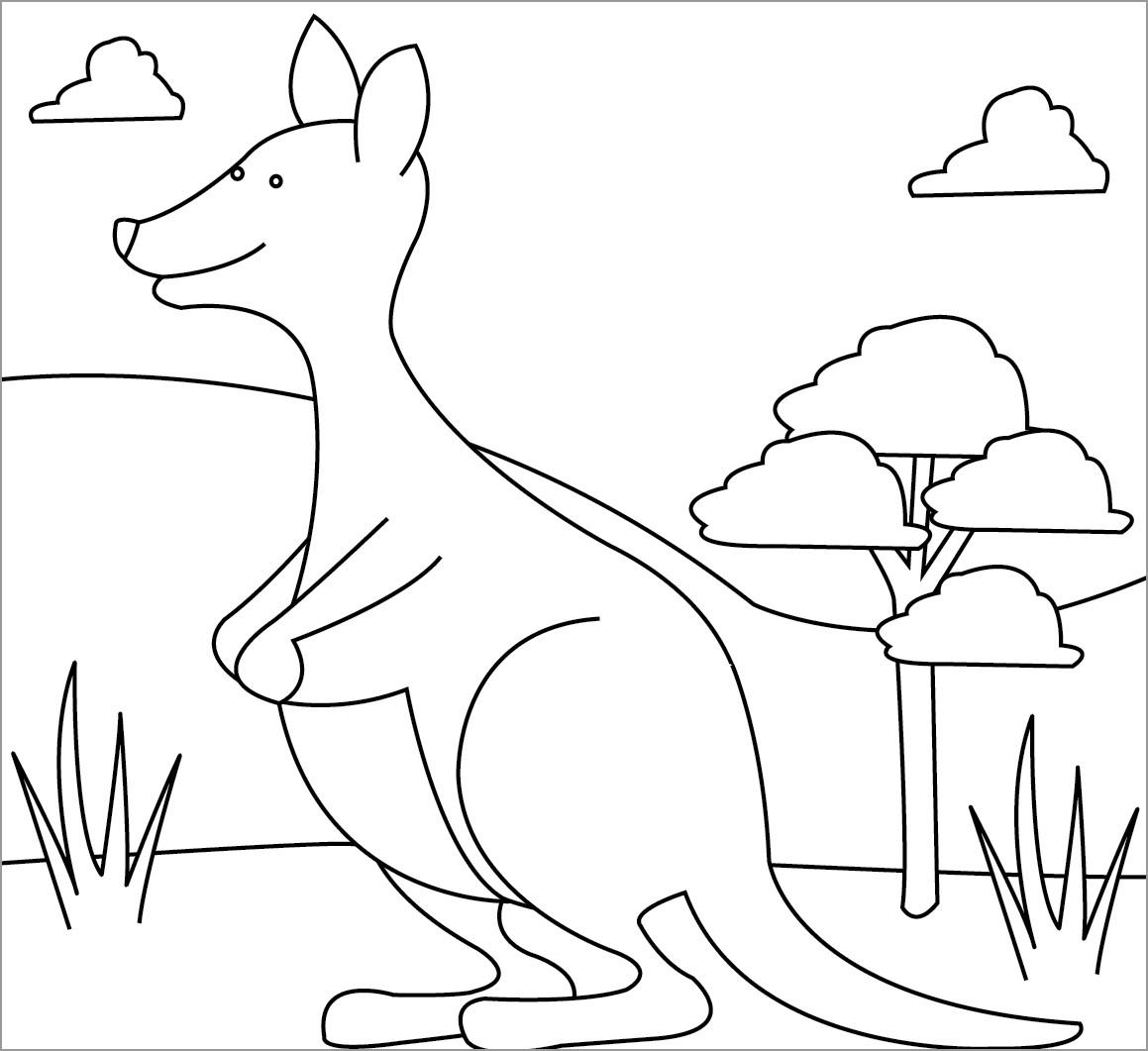 Kangaroo Coloring Page Free