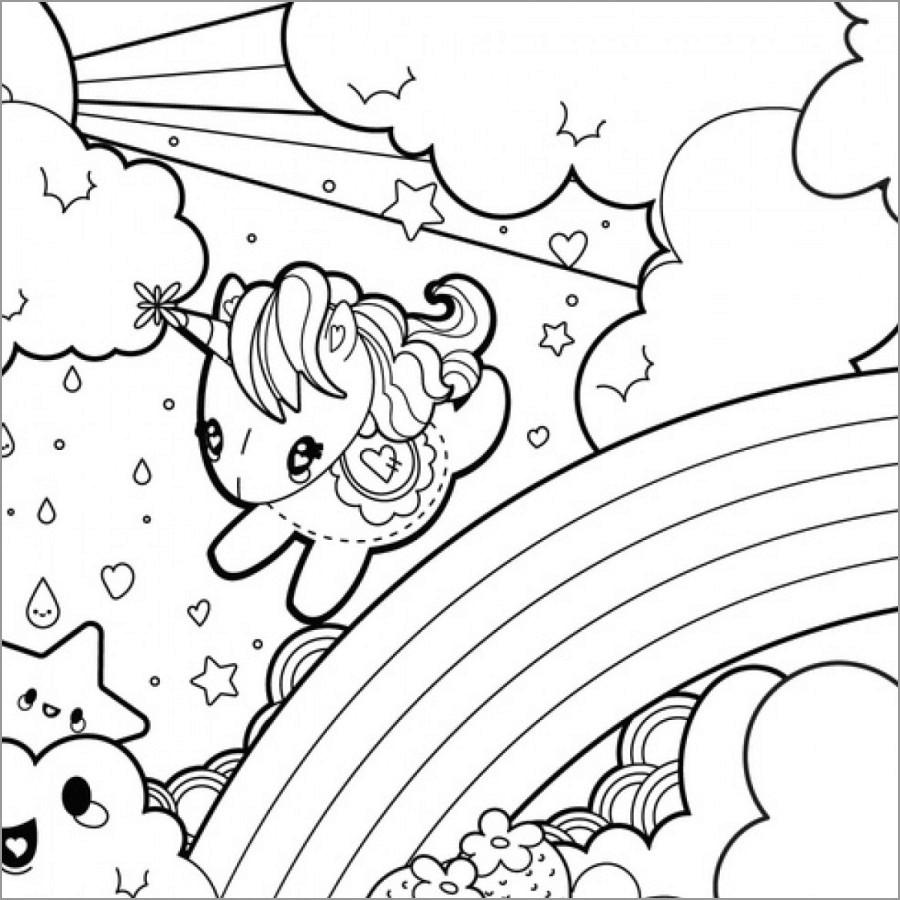 Kawaii Unicorn and Rainbow Coloring Page