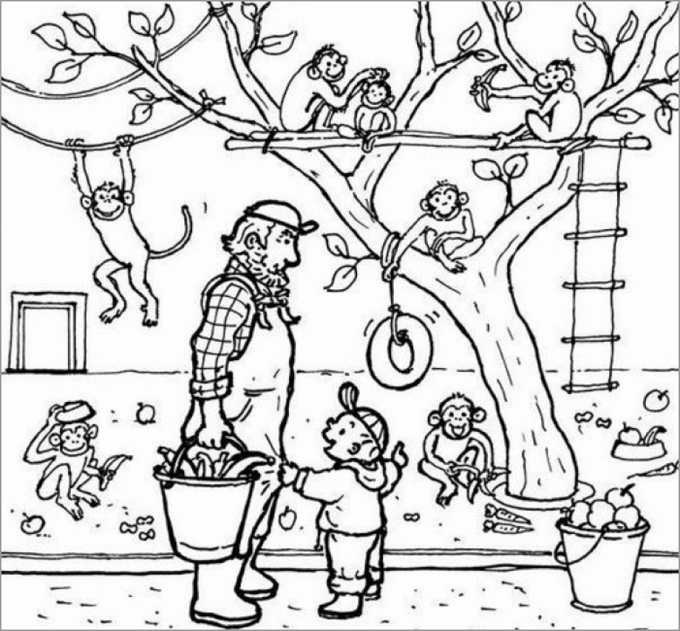 Kids at the Zoo Printable Coloring Pages Free