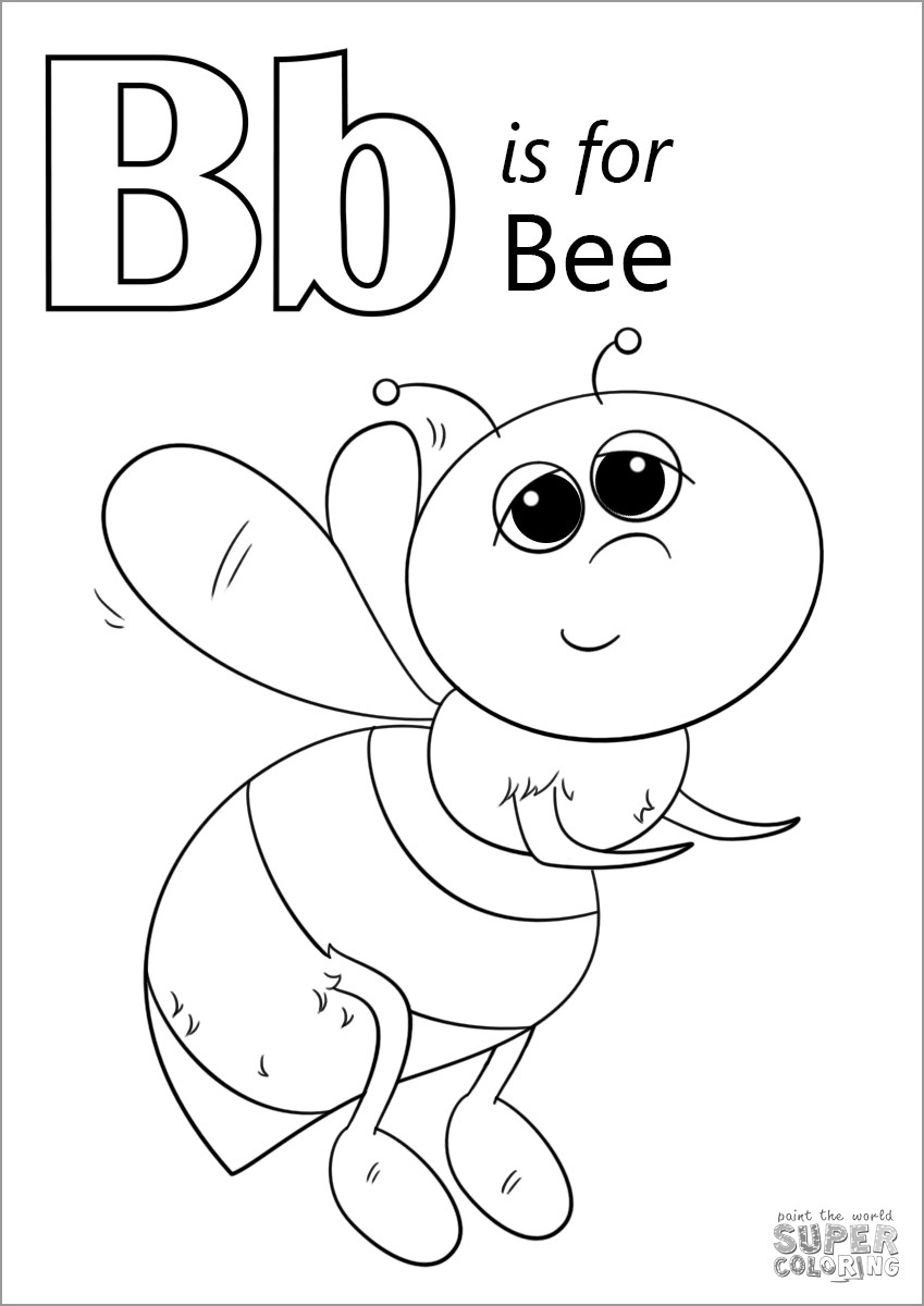 Letter B is for Bee Coloring Page