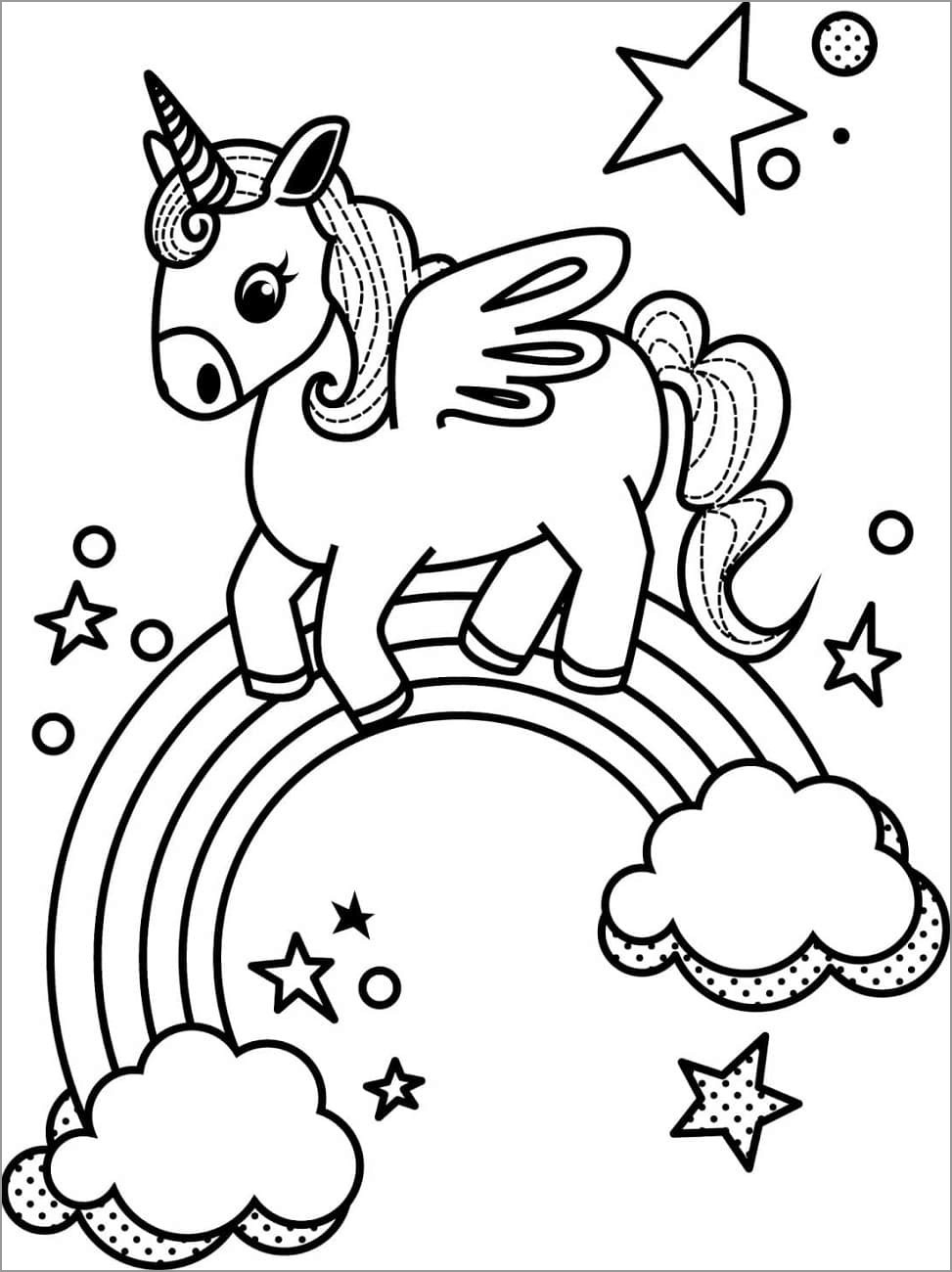 Little Unicorn and Rainbow Coloring Page