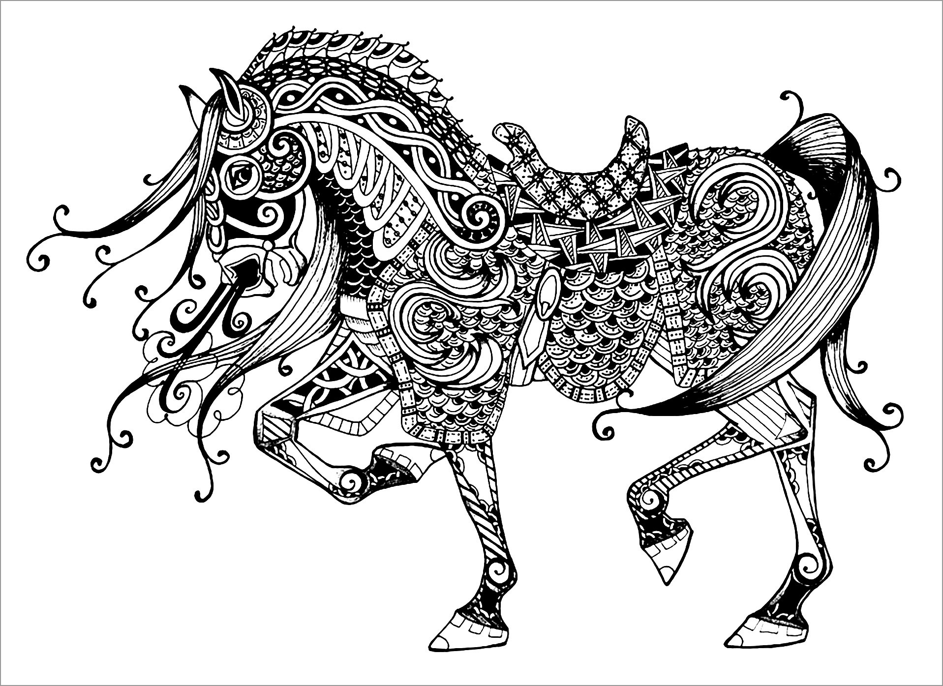 Majestic Horse Coloring Page for Adults