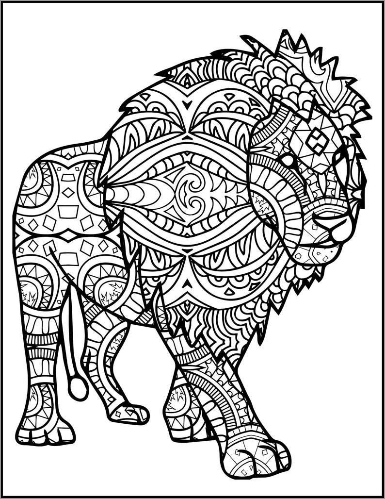 Mandala Lion Coloring Page