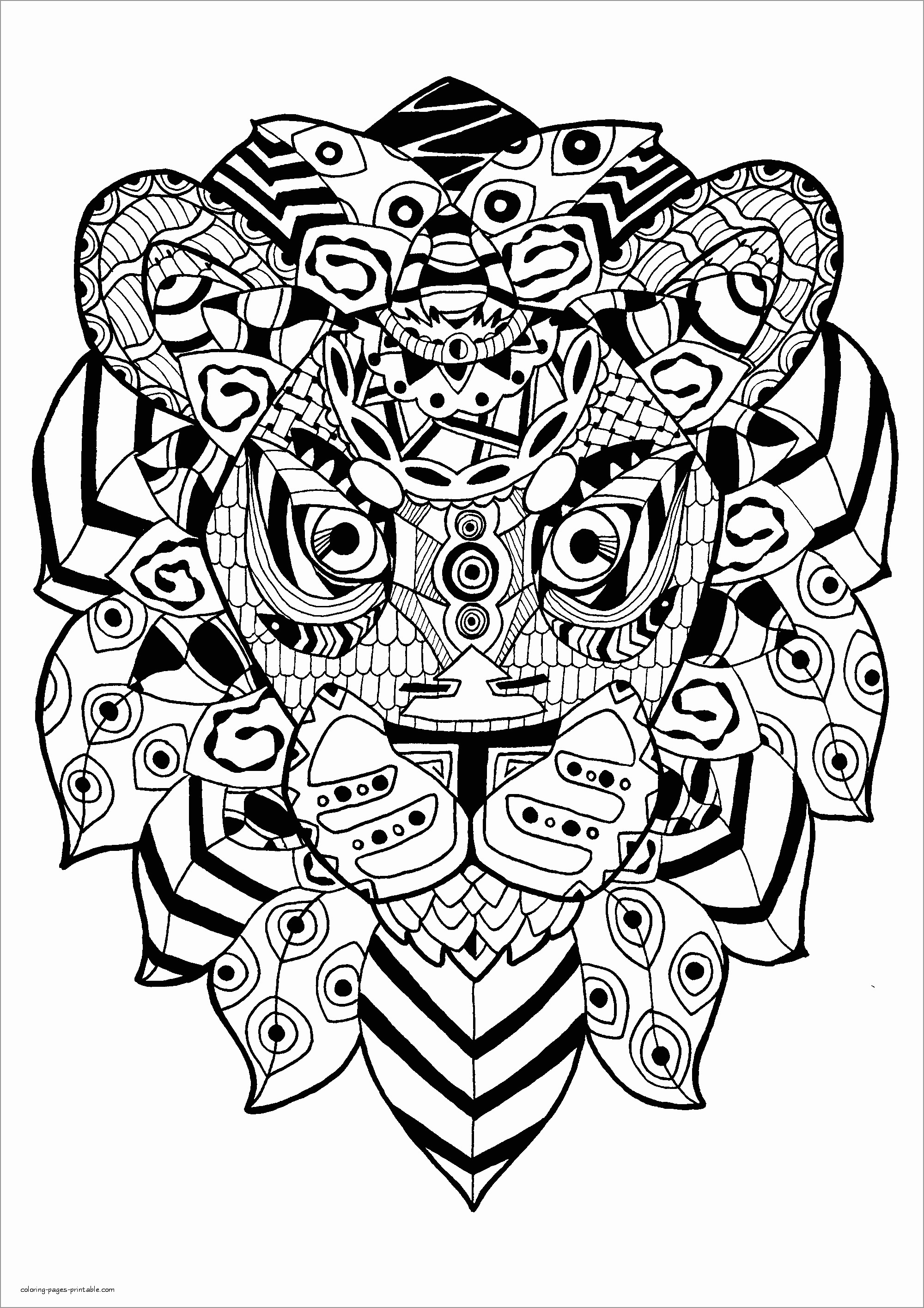 Mandala Lion Head Coloring Page