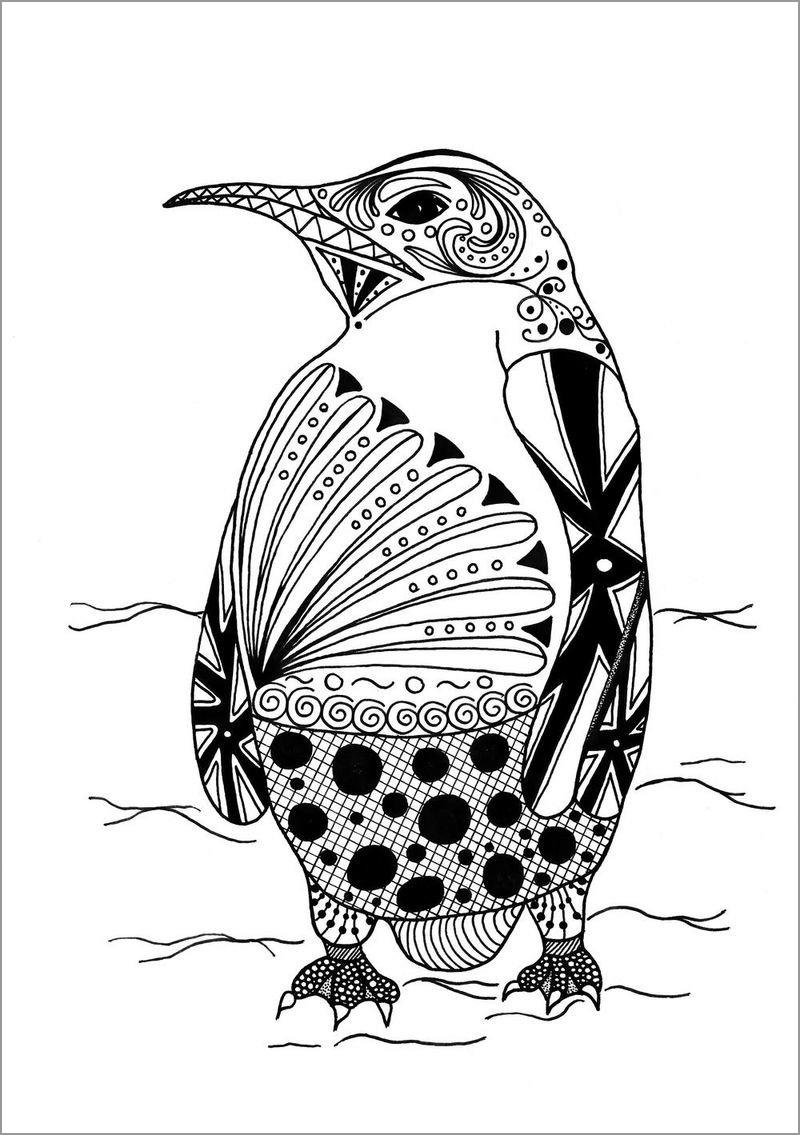 Mandala Penguin Coloring Page