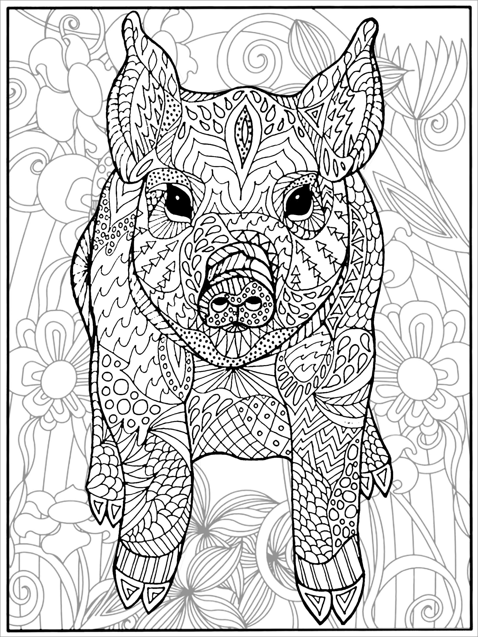 Mandala Pork Coloring Page