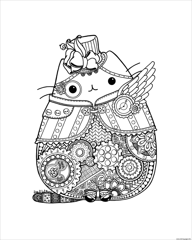 Mandala Pusheen Coloring Page
