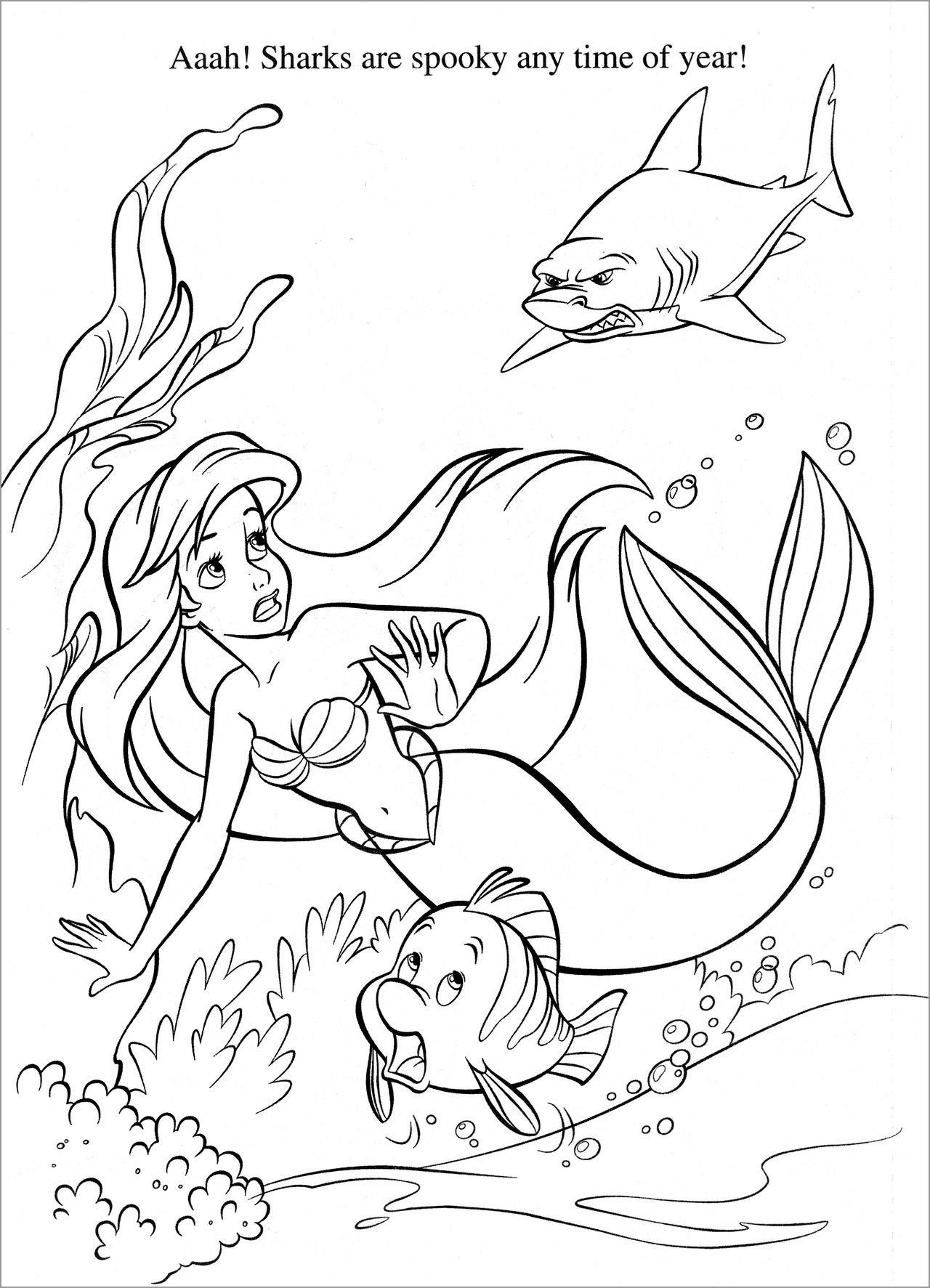Mermaid and Shark Coloring Page