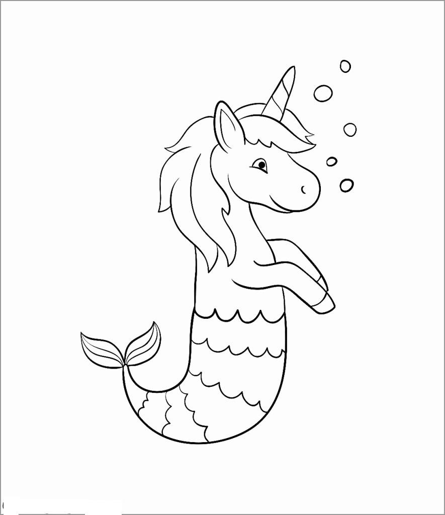 Mermaid Unicorn Coloring Page