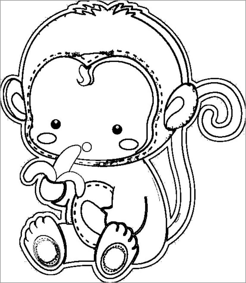 Monkey Eating Banana Coloring Page