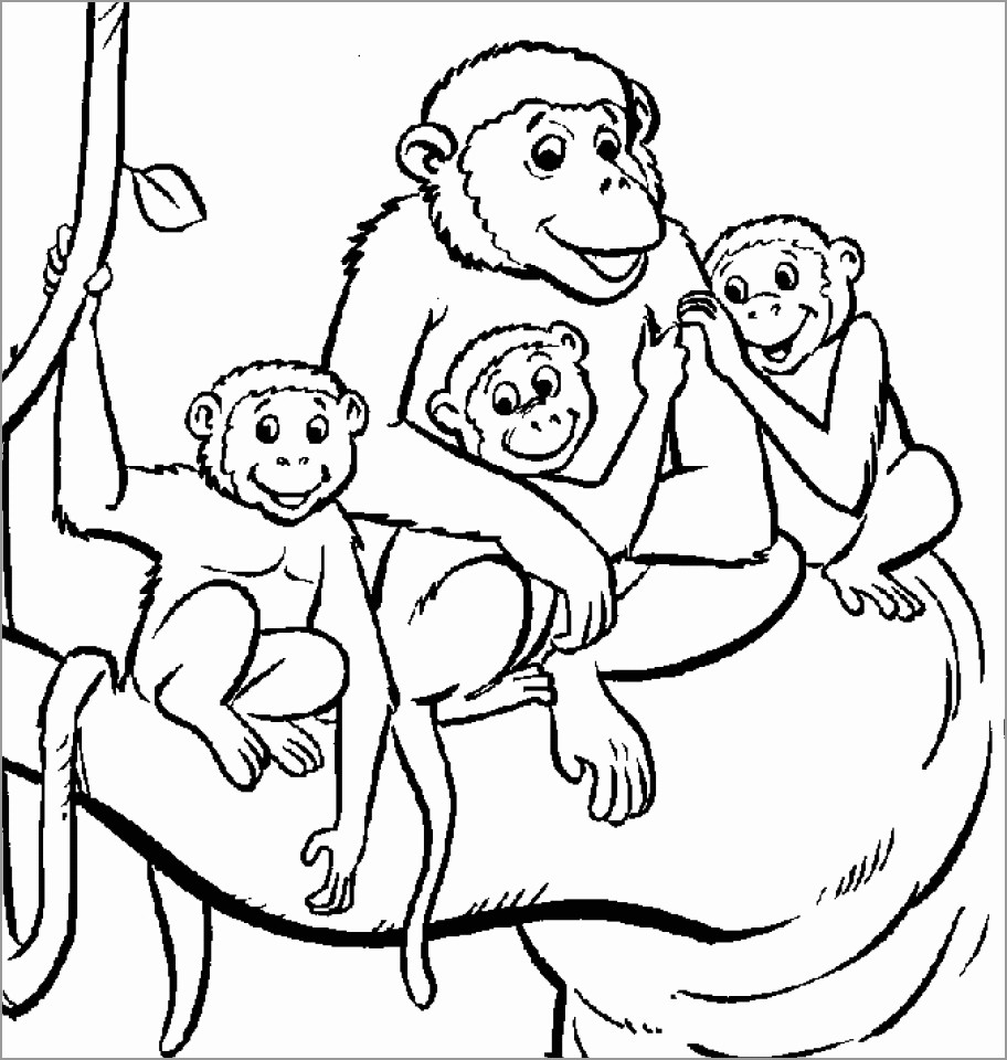 Monkey Family Coloring Page