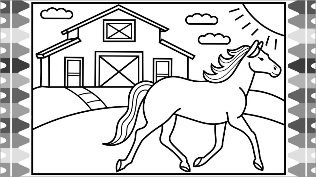 New Coloring Pages Horse Easy Picolour