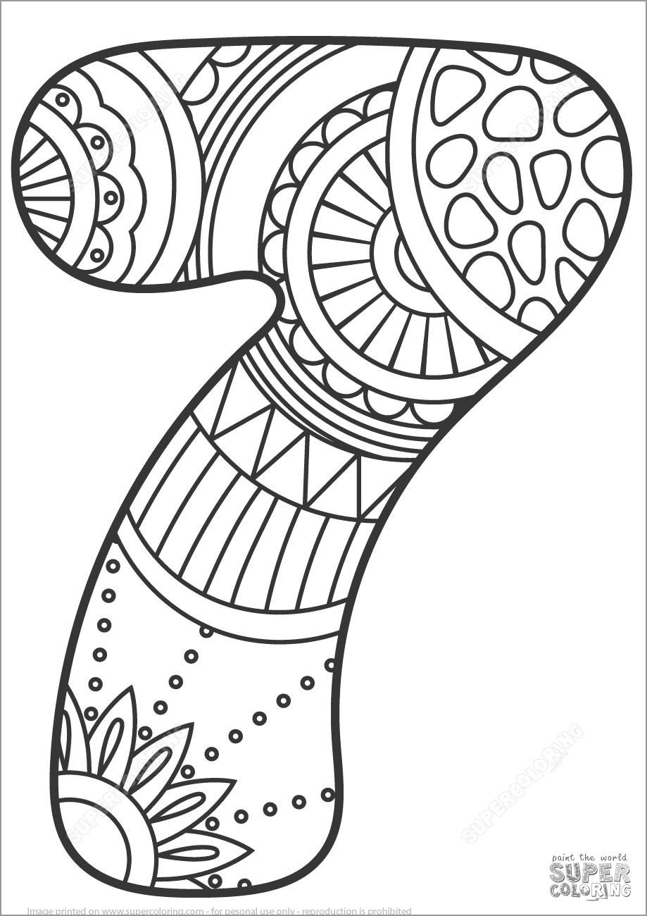 Number 7 Mandala Coloring Page