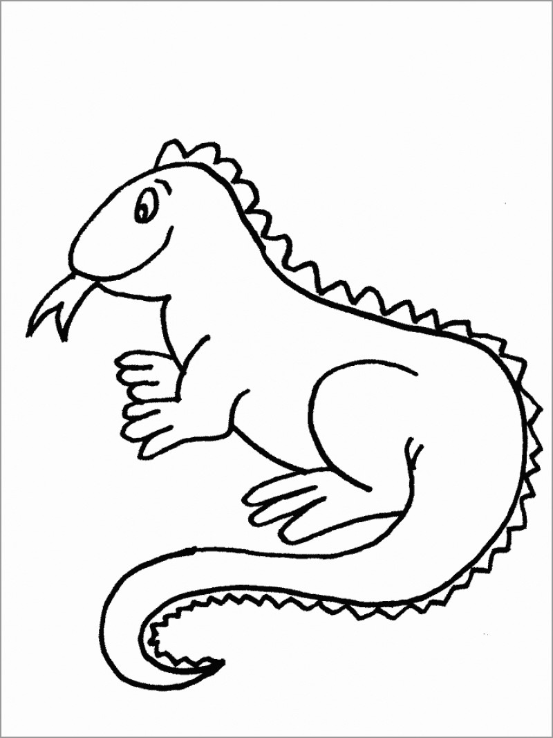 Preschool Iguana Coloring Page