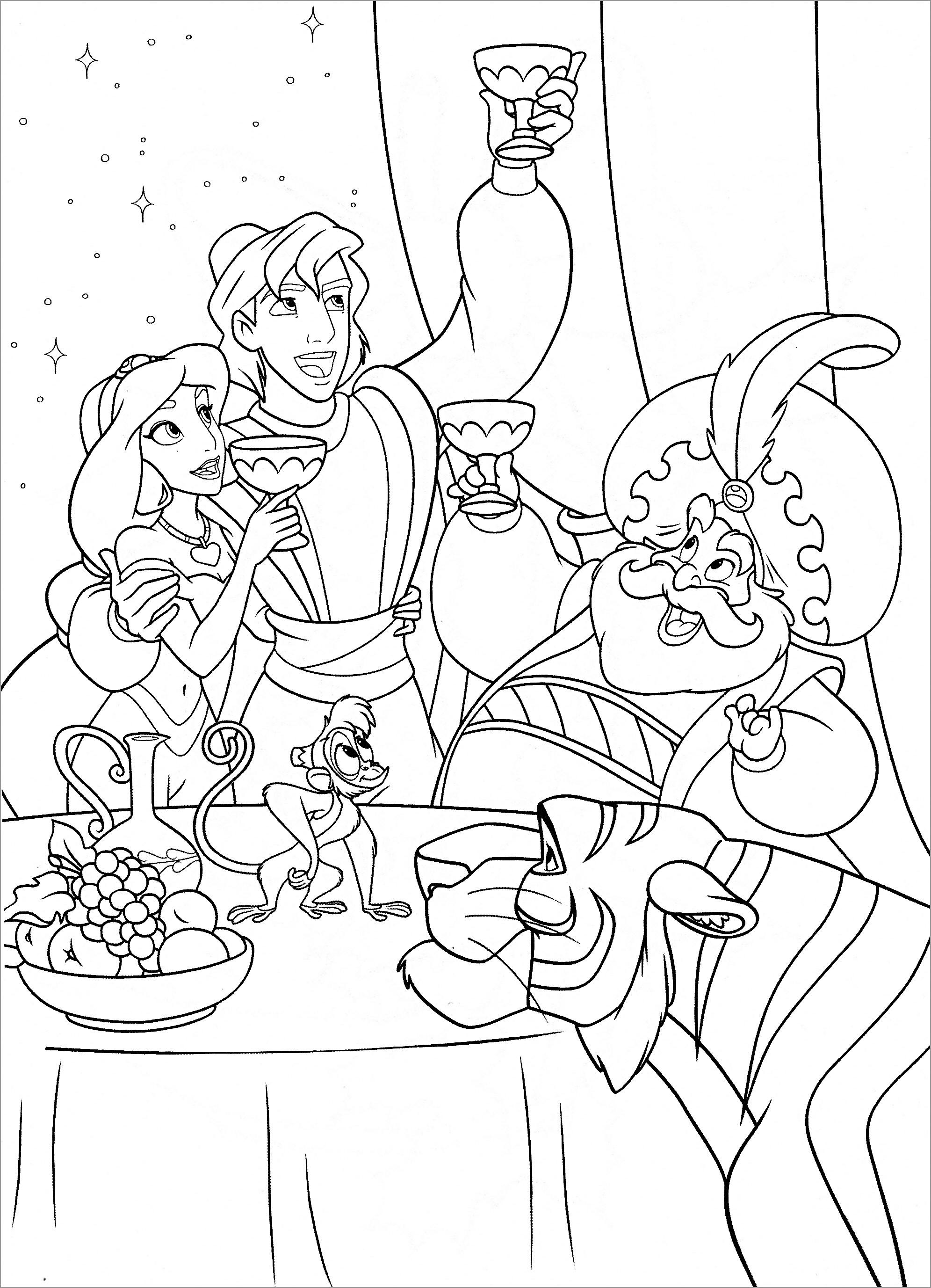 Princess Jasmine, Prince Aladdin and the Sultan Abu Rajah Coloring Pages