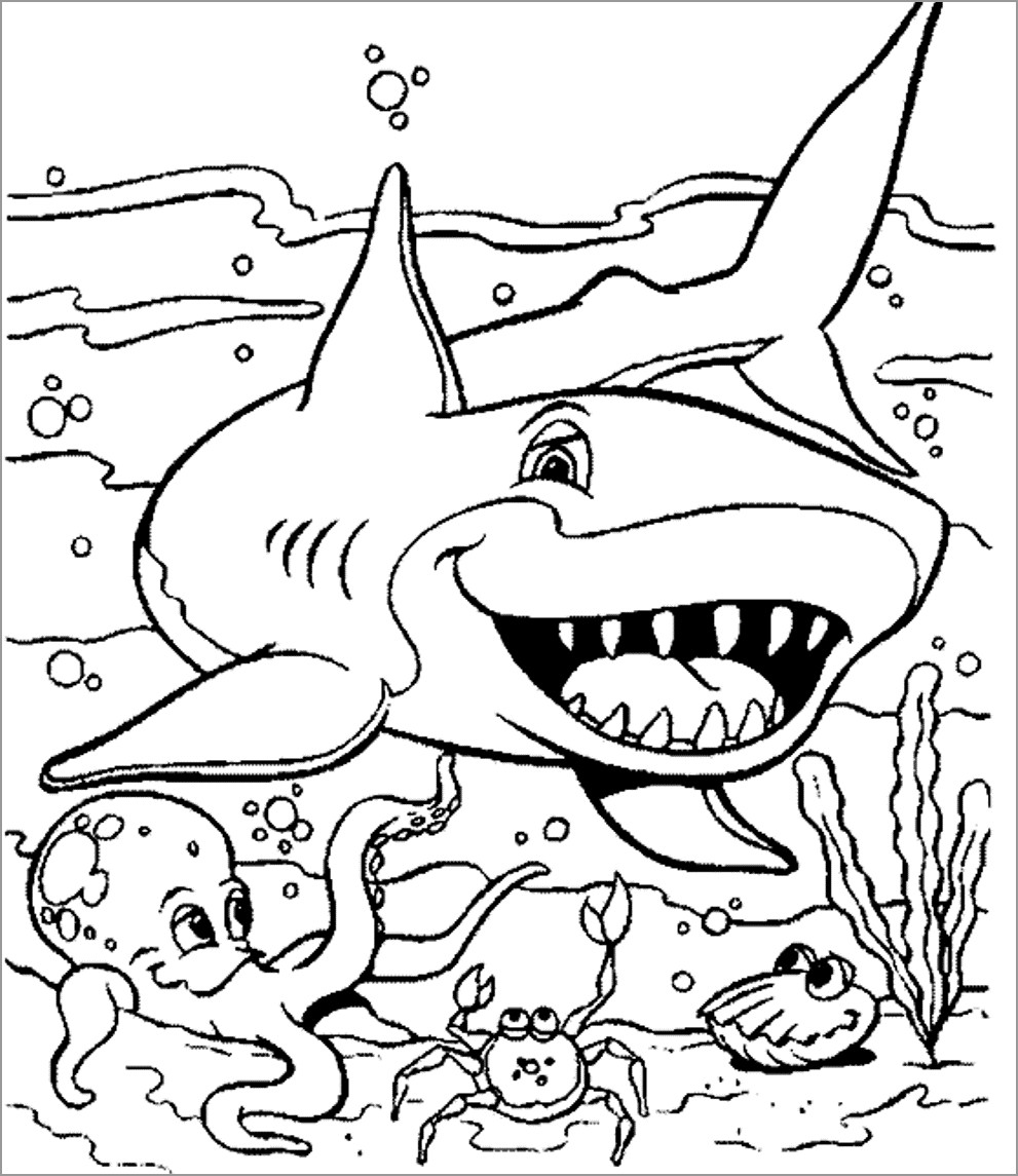 Printable Aquatic Animals Coloring Page
