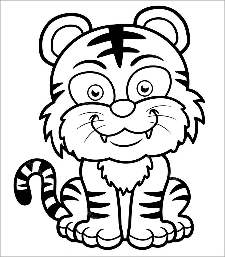 Printable Baby Tiger Smiling Coloring Page