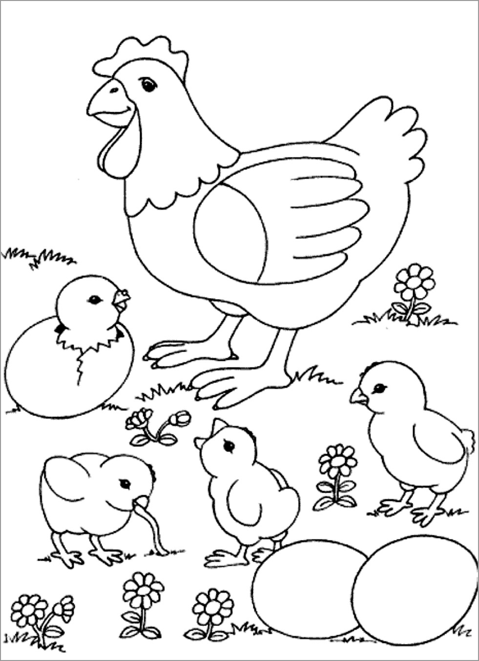 Printable Chick Coloring Page for Kids