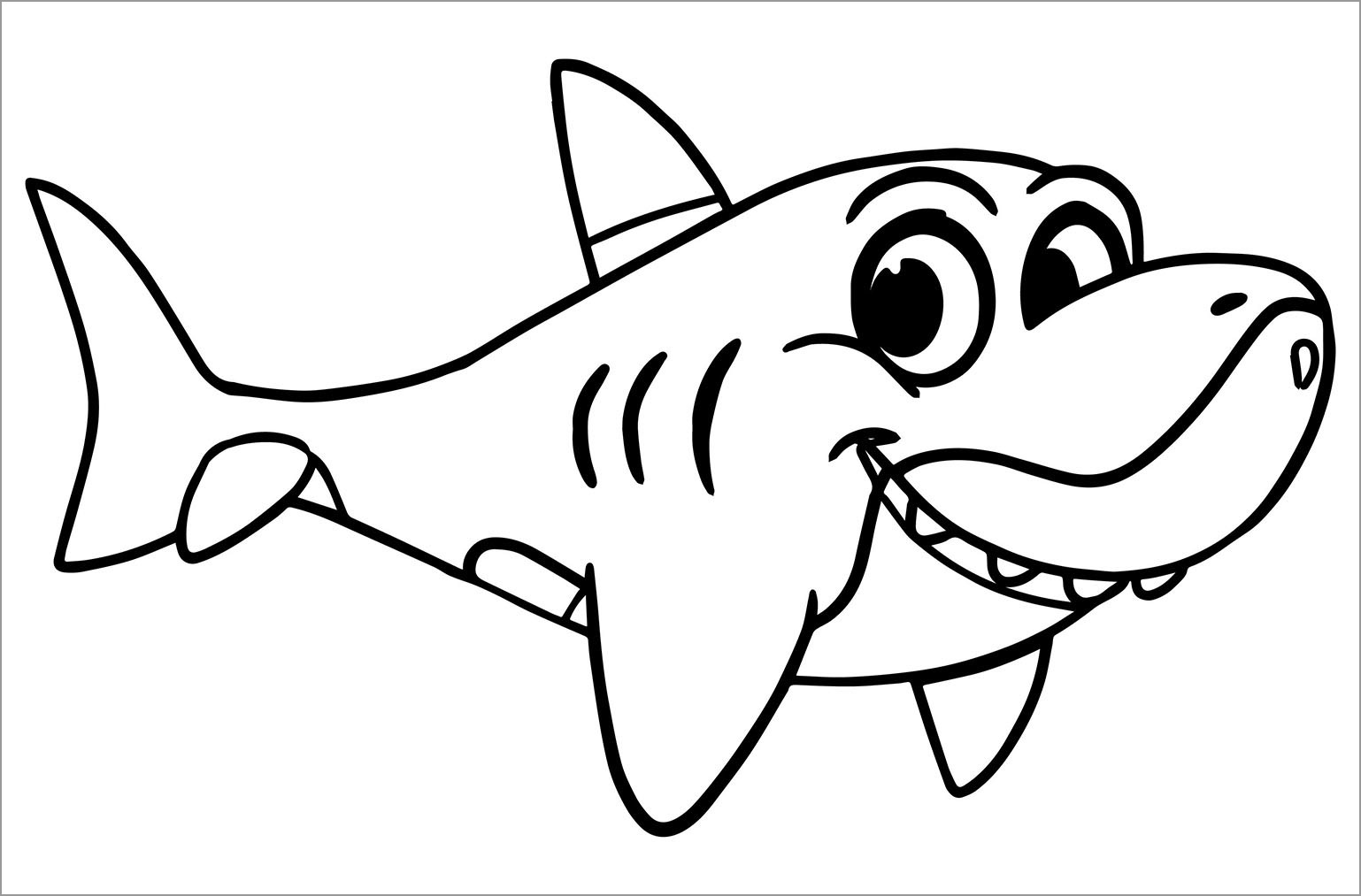 Printable Cute Shark Coloring Pages for Kids