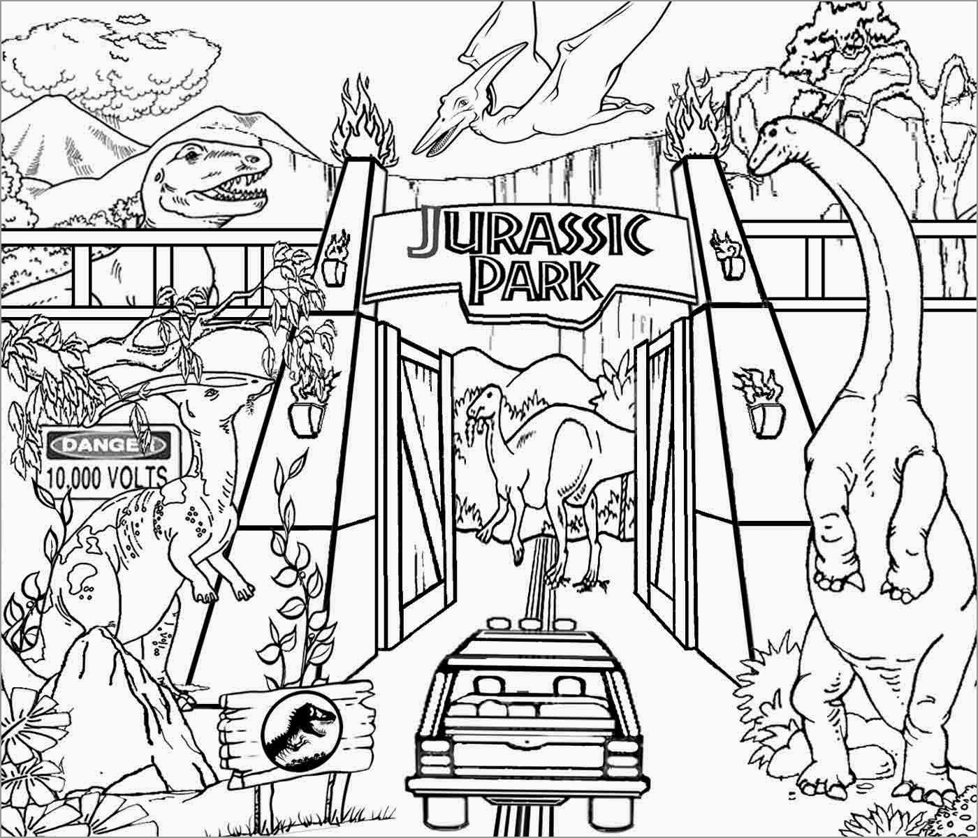 Printable Jurassic Park Coloring Page For Kids Coloringbay