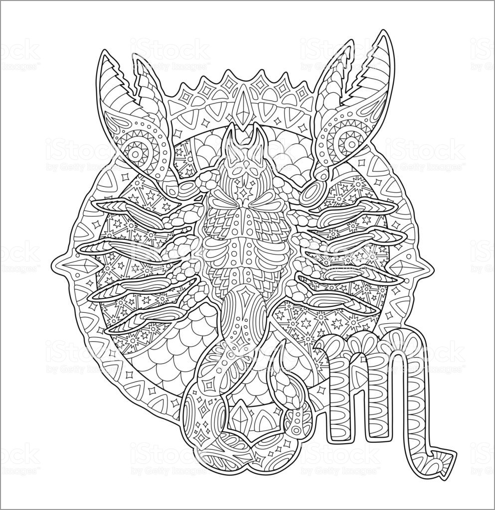 Printable Zentangle Scorpio Coloring Page for Adult