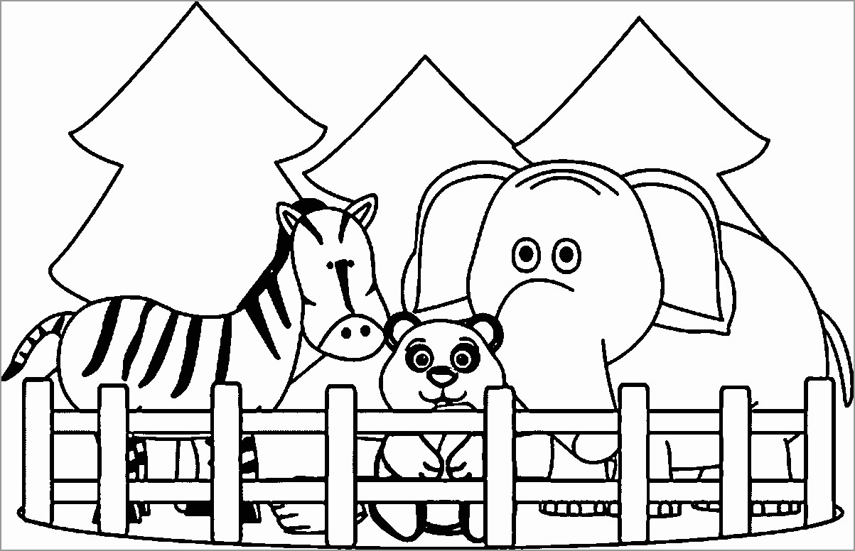 Printable Zoo Animals Coloring Page