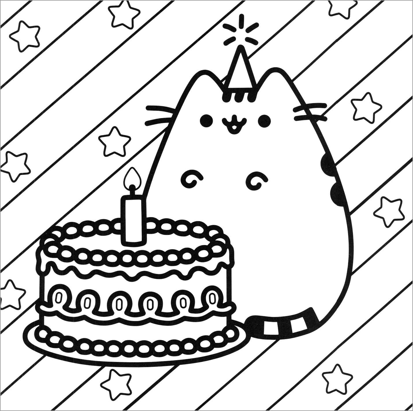 Pusheen Birthday Cake Coloring Page