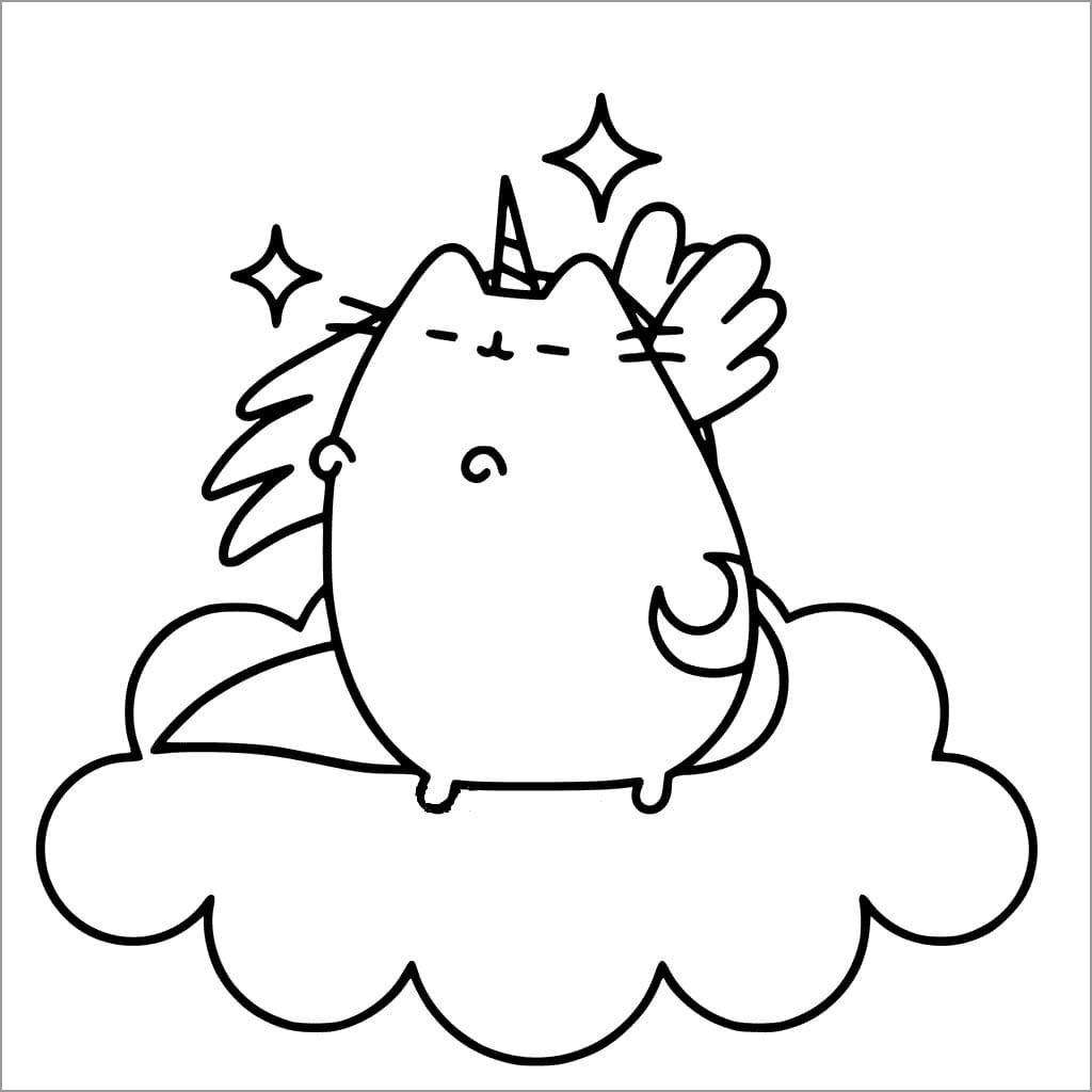 Pusheen Coloring Pages Unicorn