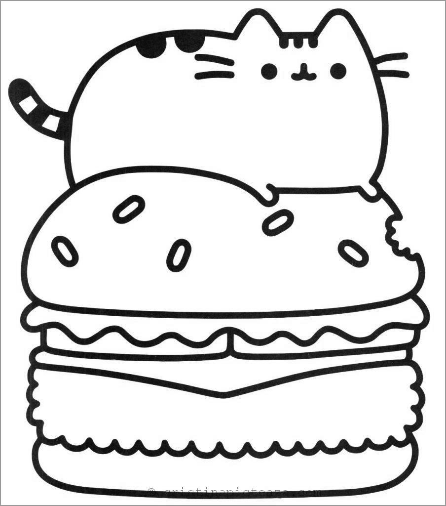 Pusheen Hamburger Coloring Page