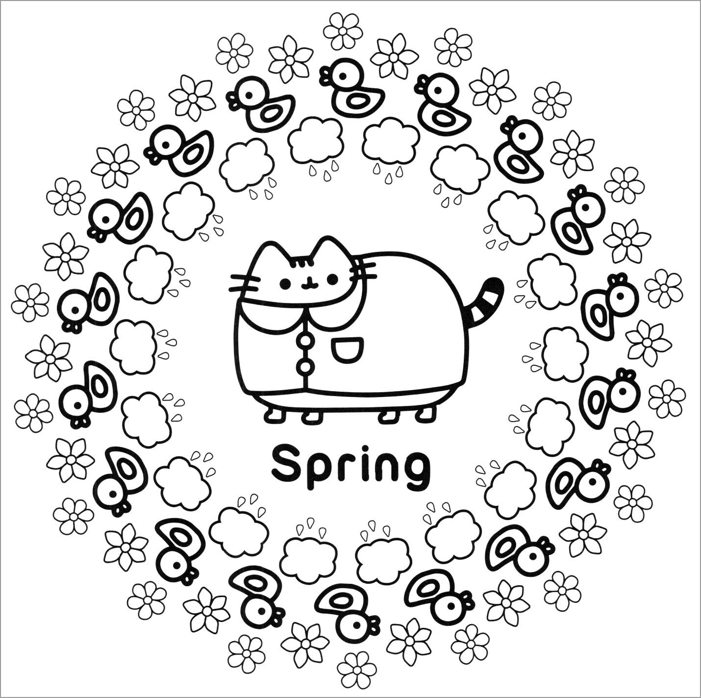 Pusheen Spring Coloring Page