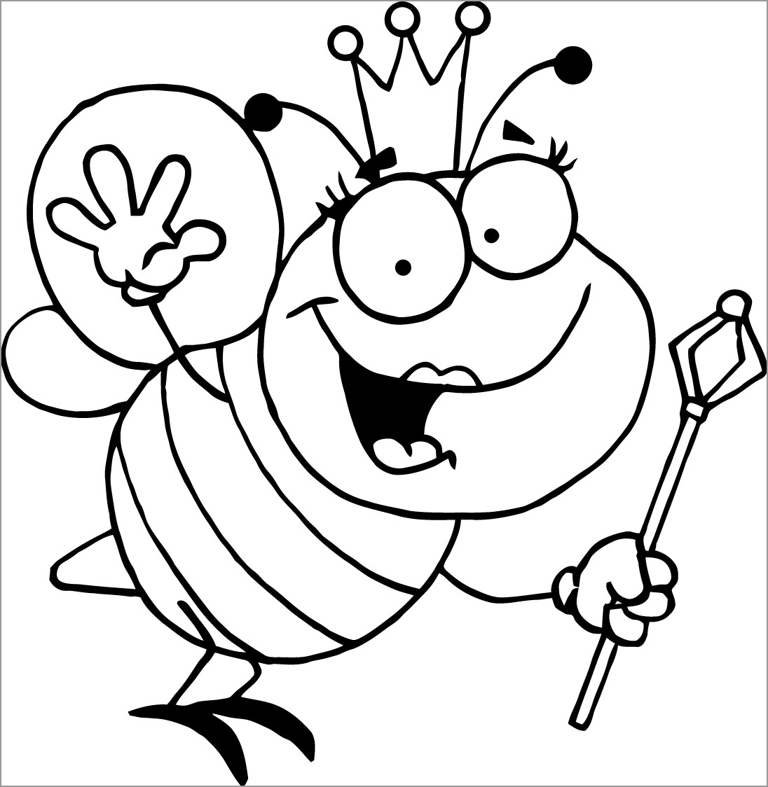 Queen Bee Coloring Pages for Kids