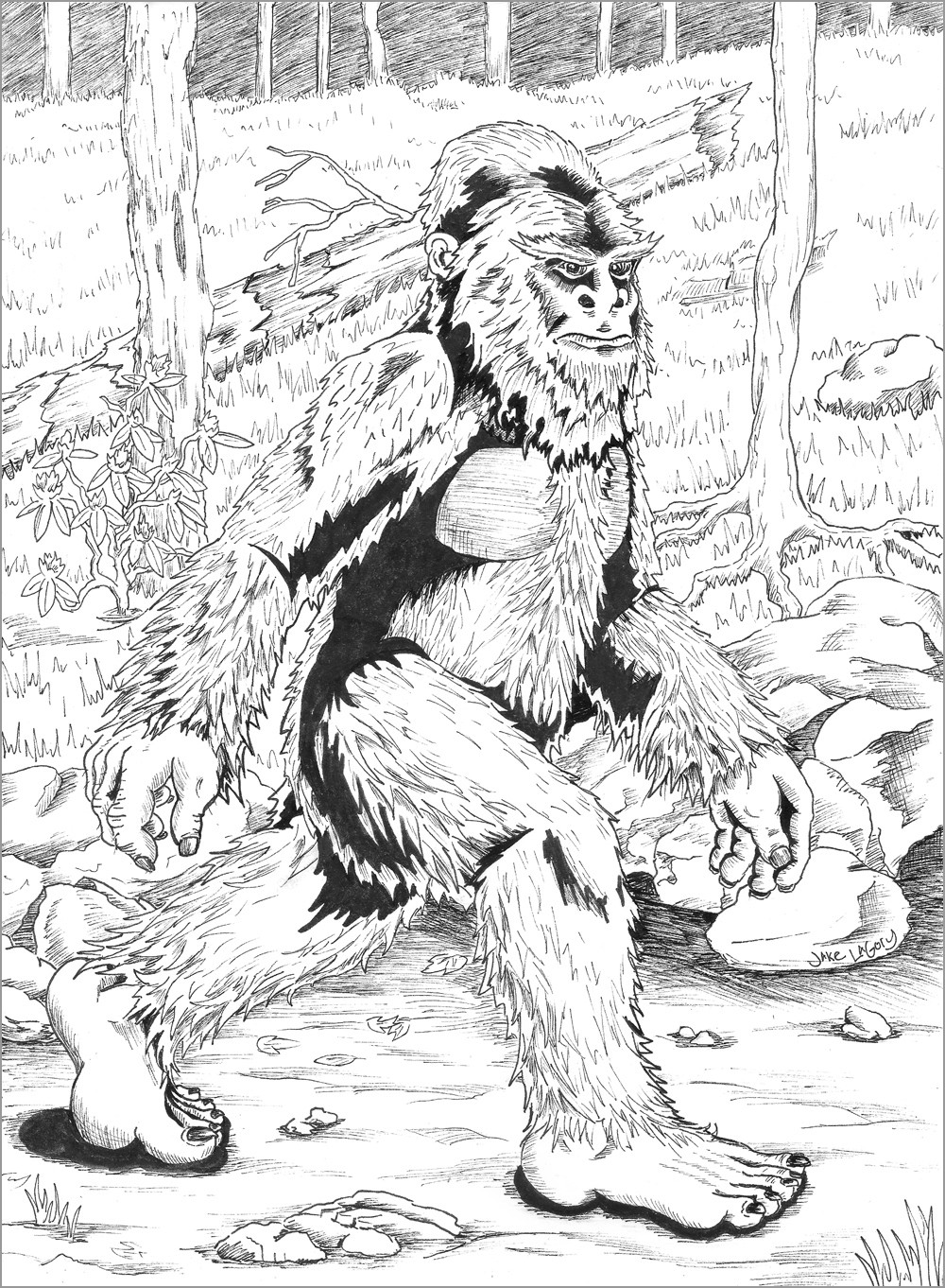 Realistic Bigfoot Coloring Page for Adult