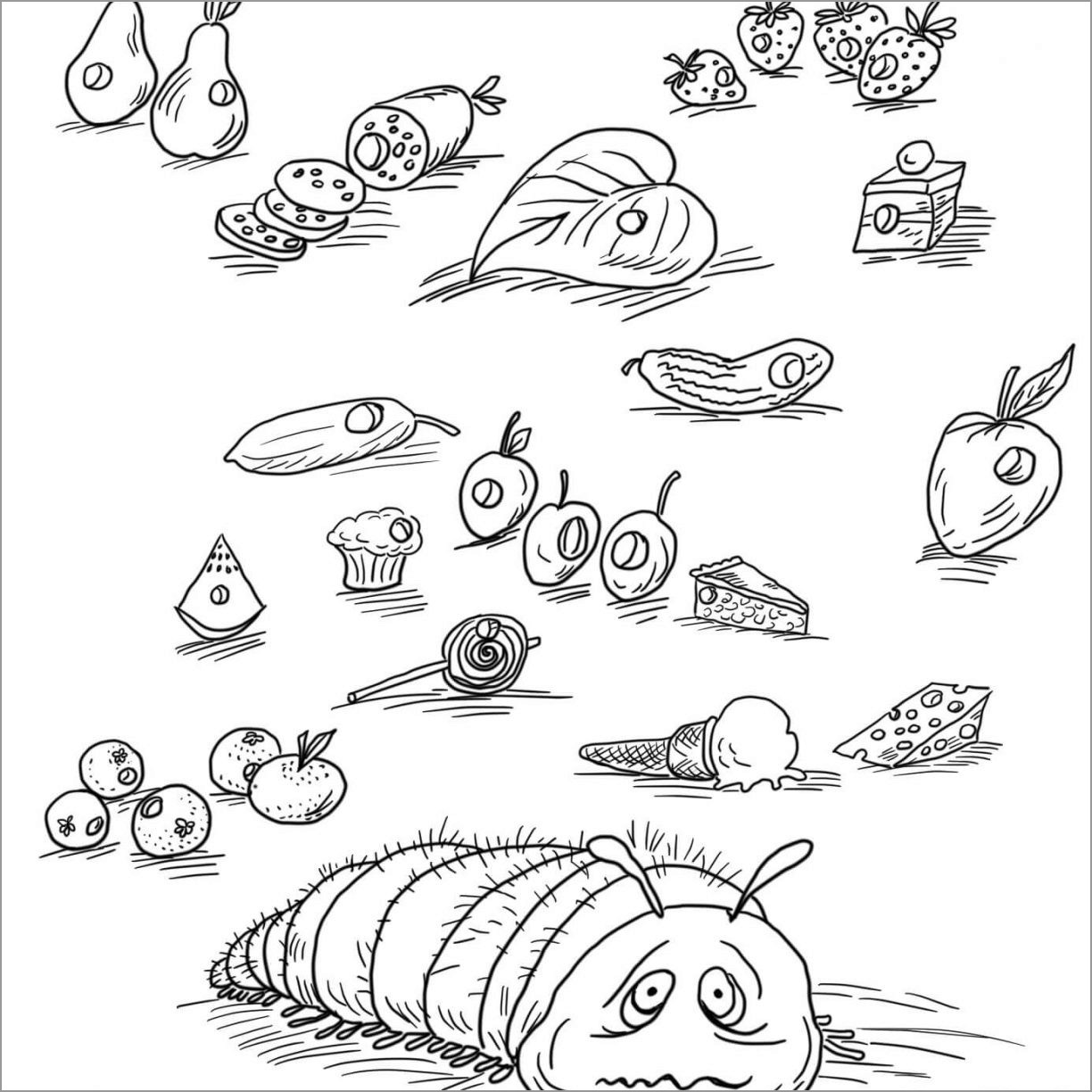 Realistic Caterpillar Coloring Page
