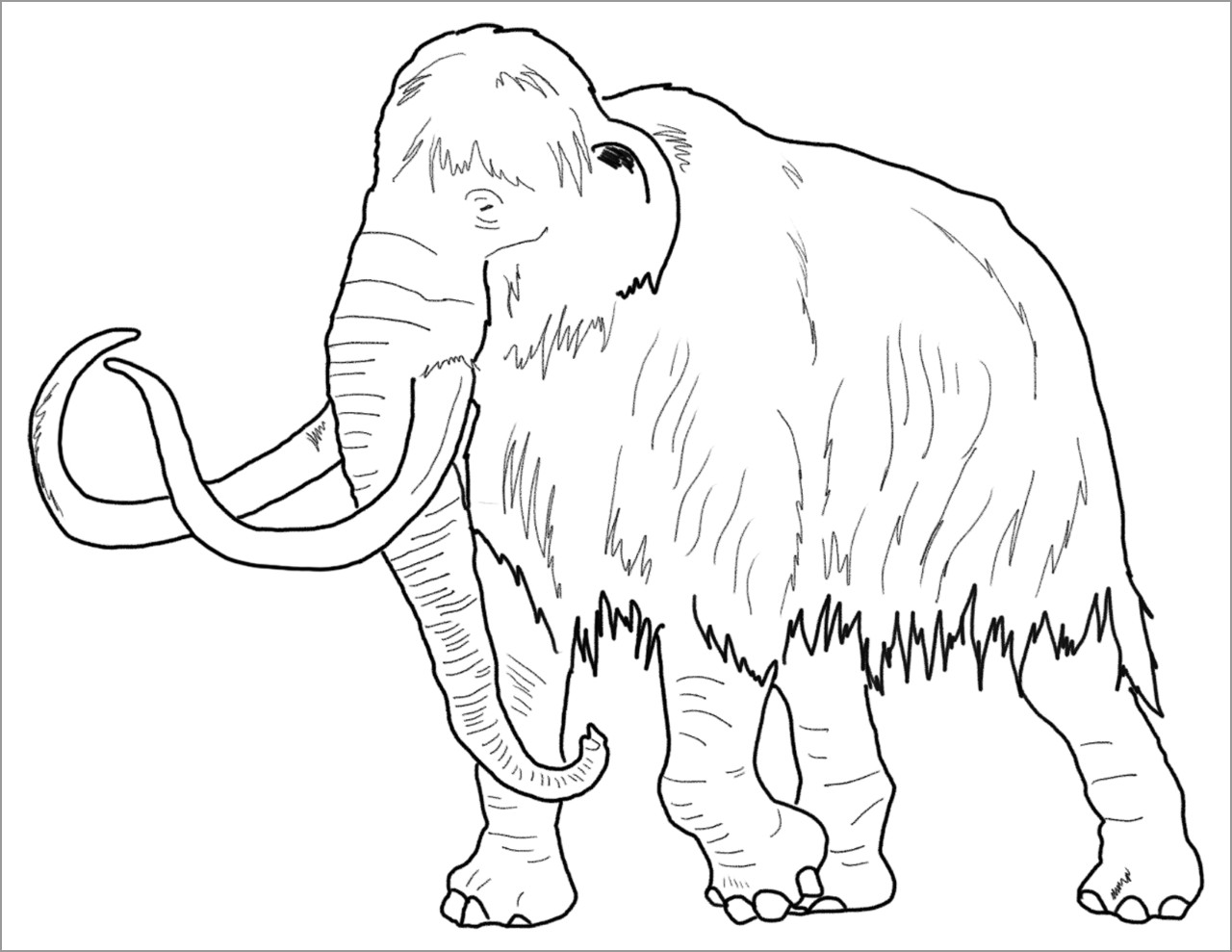 Realistic Mammoth Coloring Page
