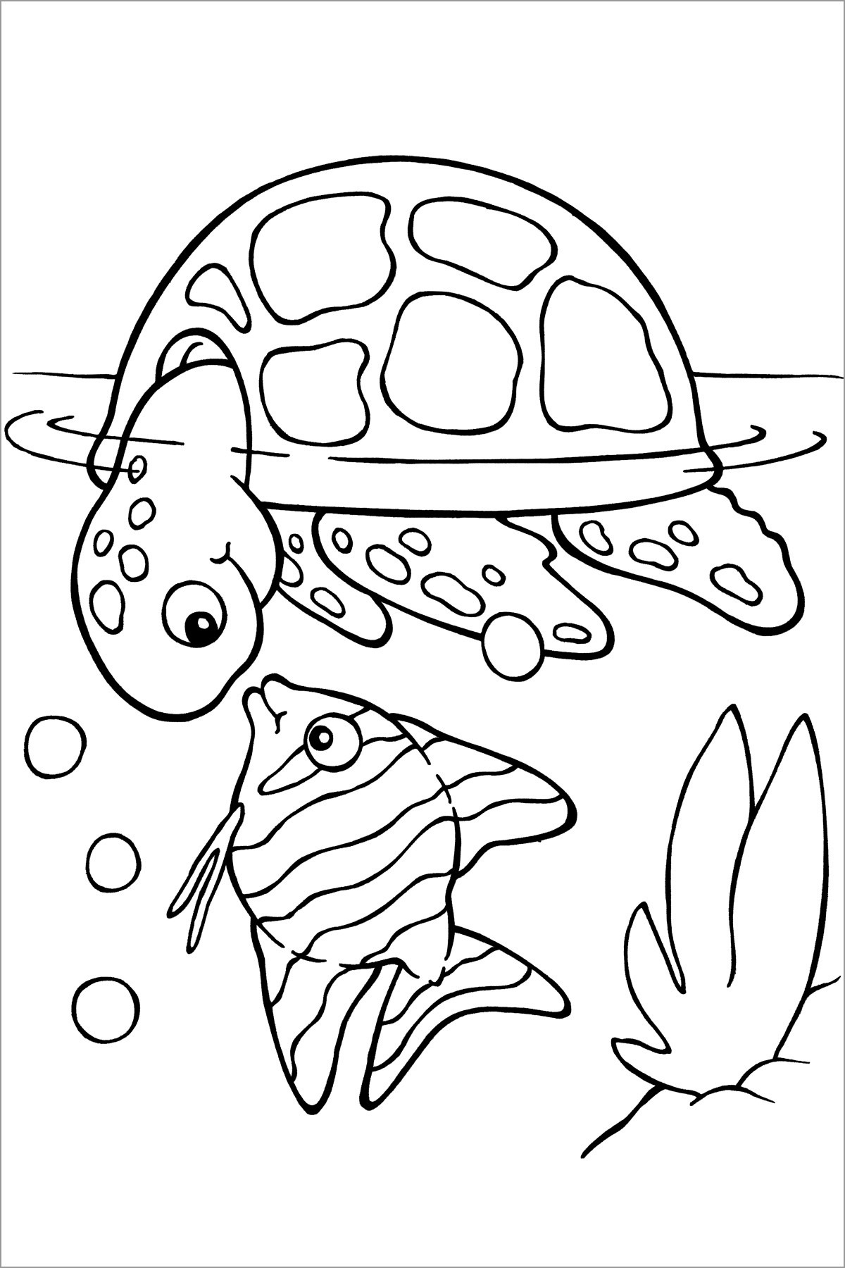 Sea Turtle and Fis Coloring Pages