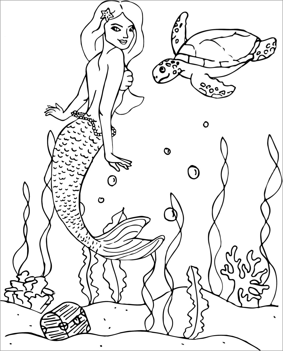 Sea Turtle and Mermaid Coloring Page