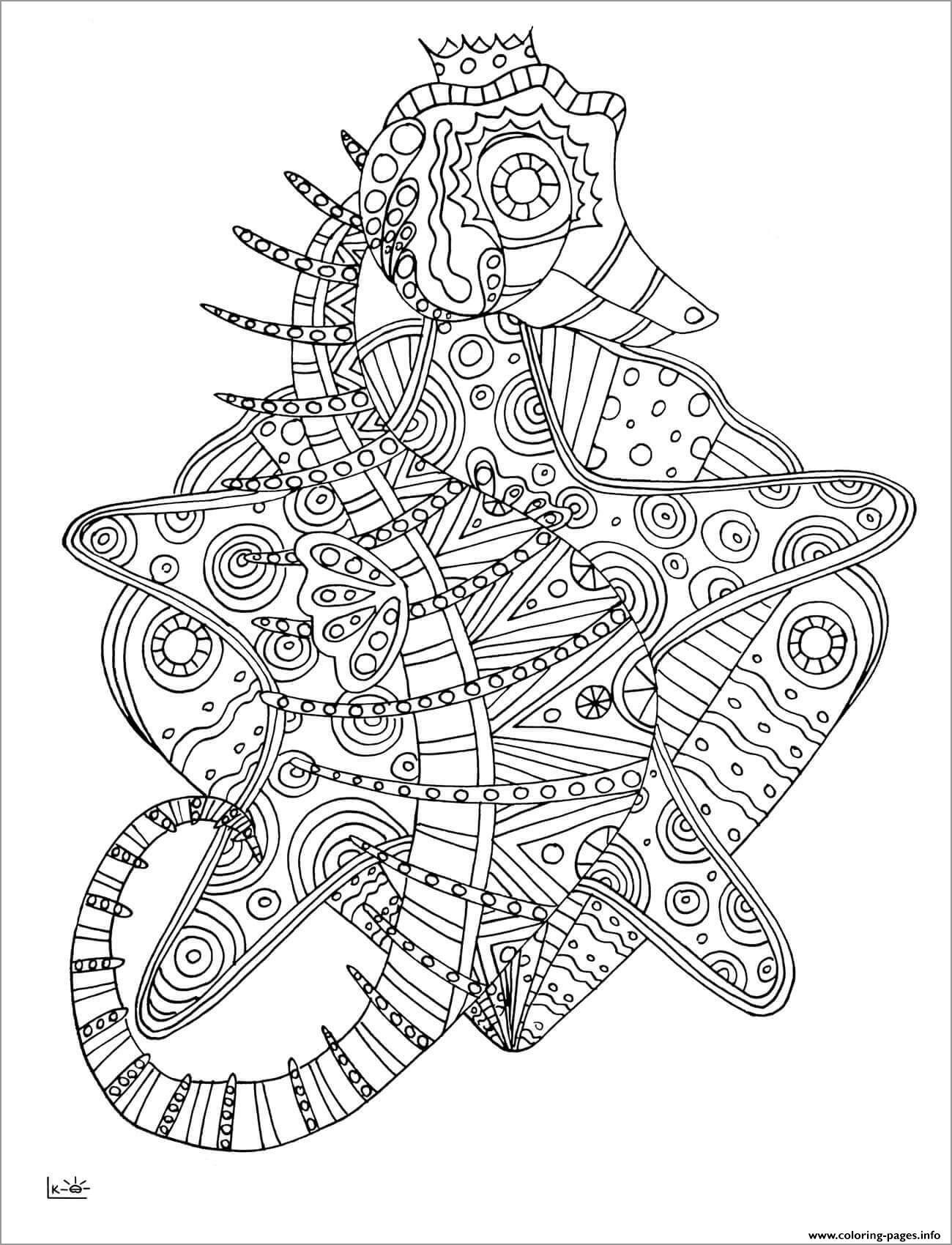 Seahorse Mandala Coloring Page