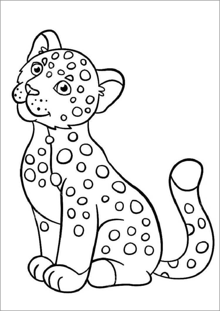 Simple Jaguar Coloring Pages