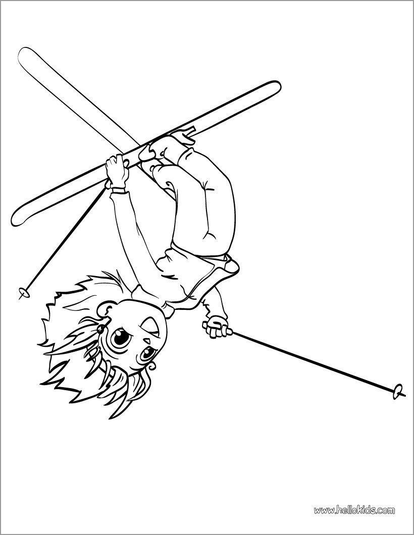 Ski Acrobat Girl Coloring Page