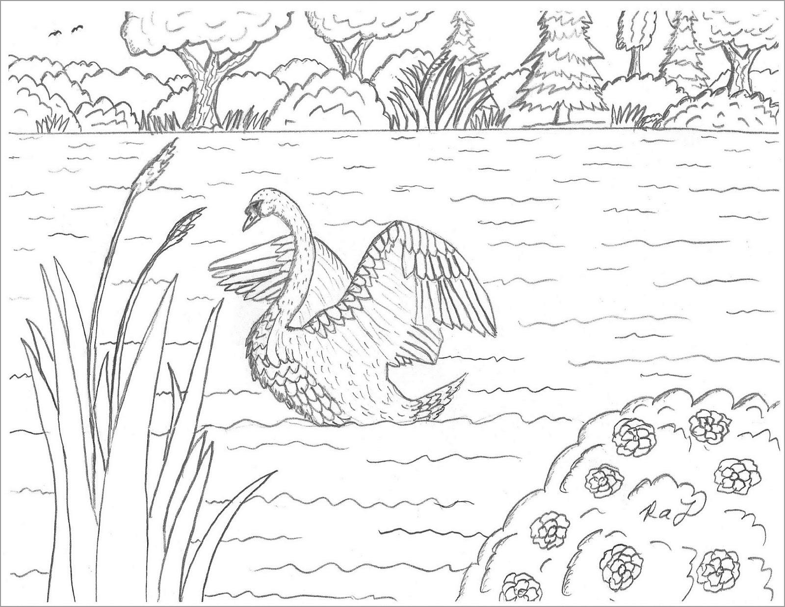 Swan Lake Coloring Page to Print