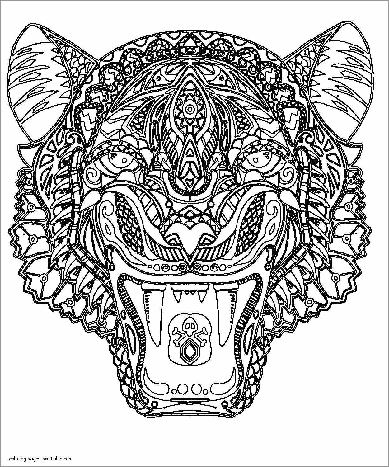 Tiger Head Coloring Page for Adults