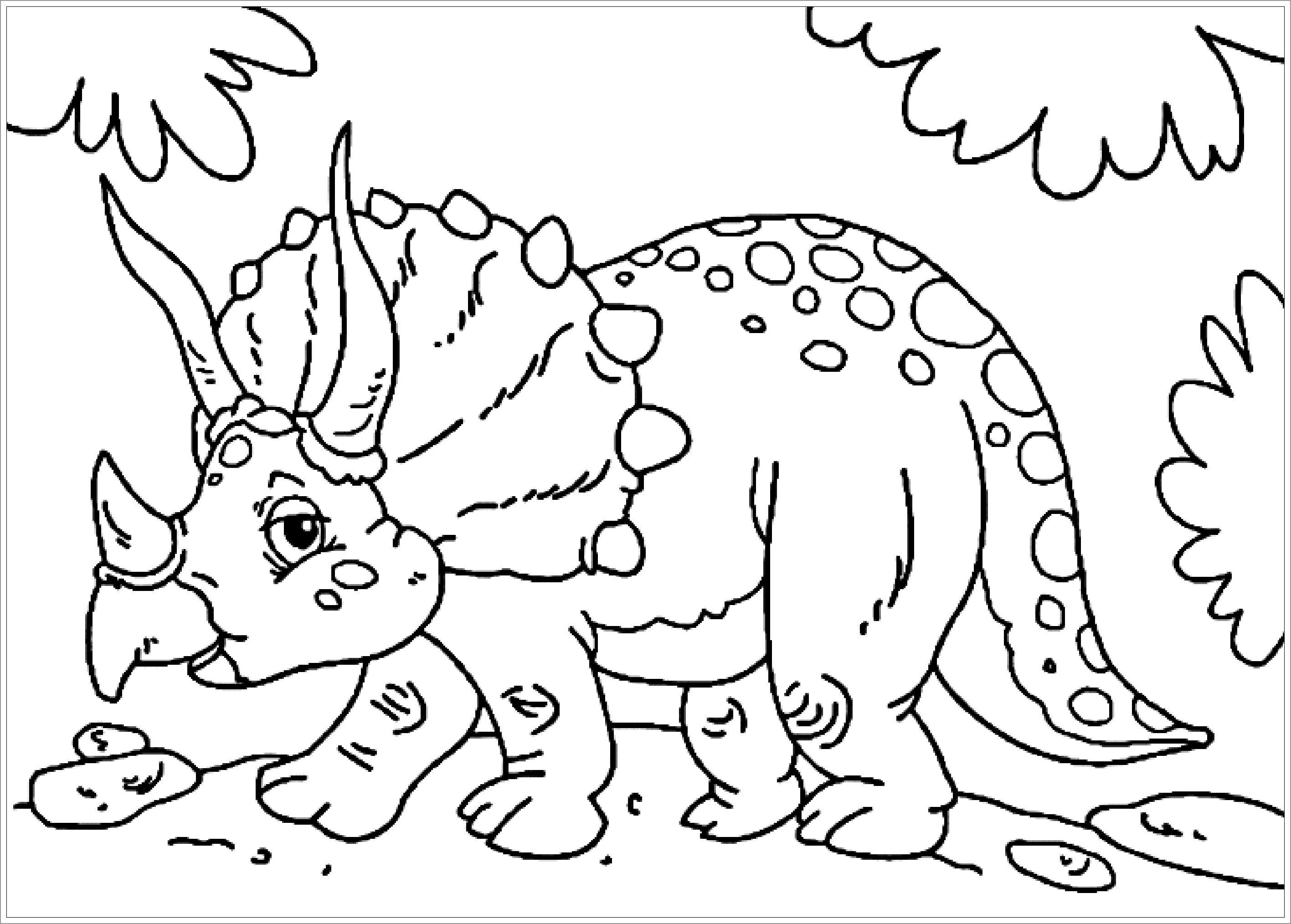 Triceratops Dinosaurs Coloring Page