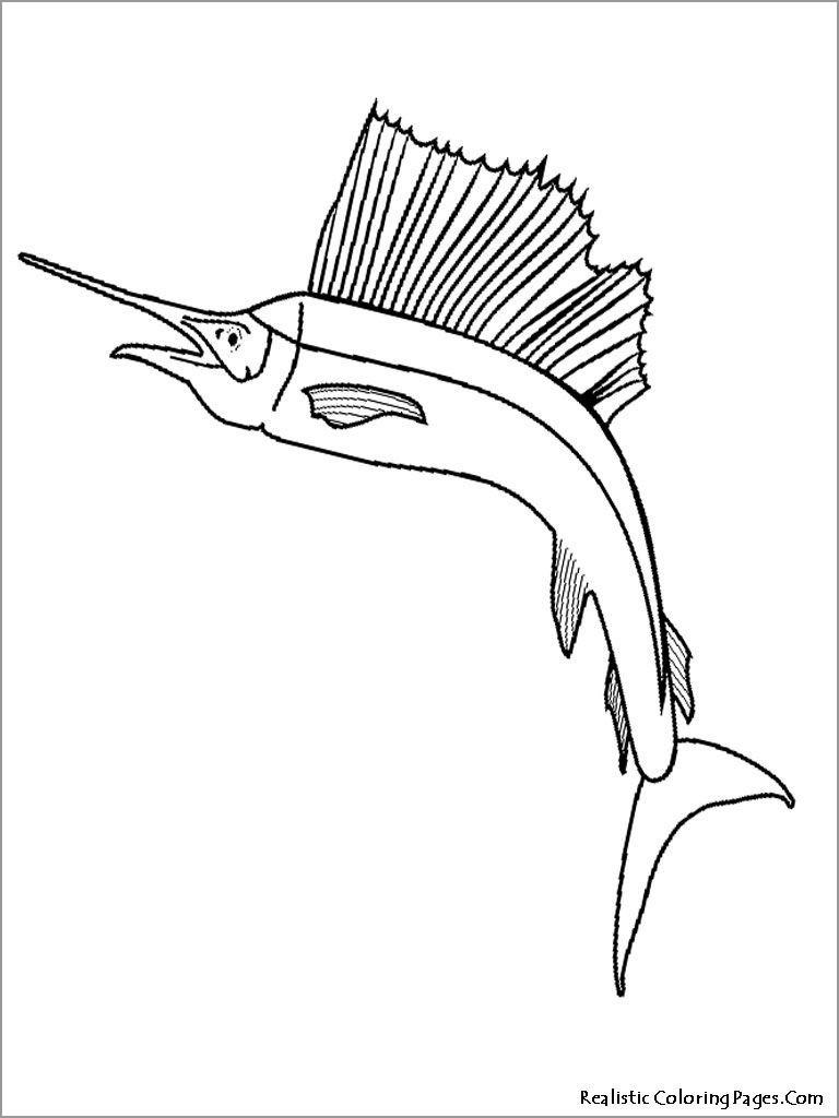 Tropical Fish Swordfish Coloring Page