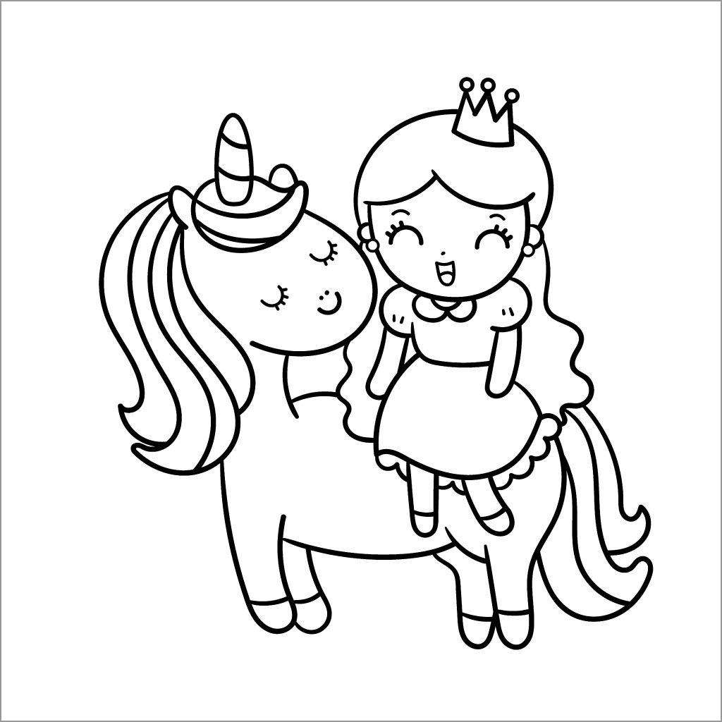 Unicorn and Princess Girl Coloring Page
