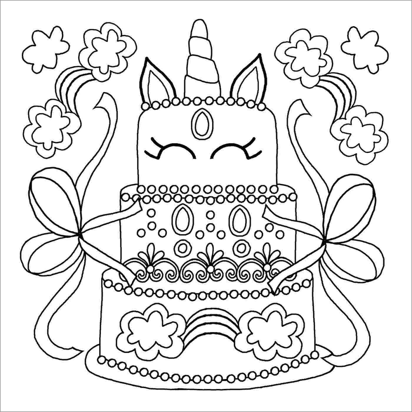 Unicorn Cake Coloring Page for Kids