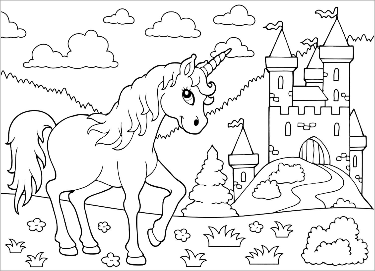 Unicorn Castle Coloring Pages for Kids