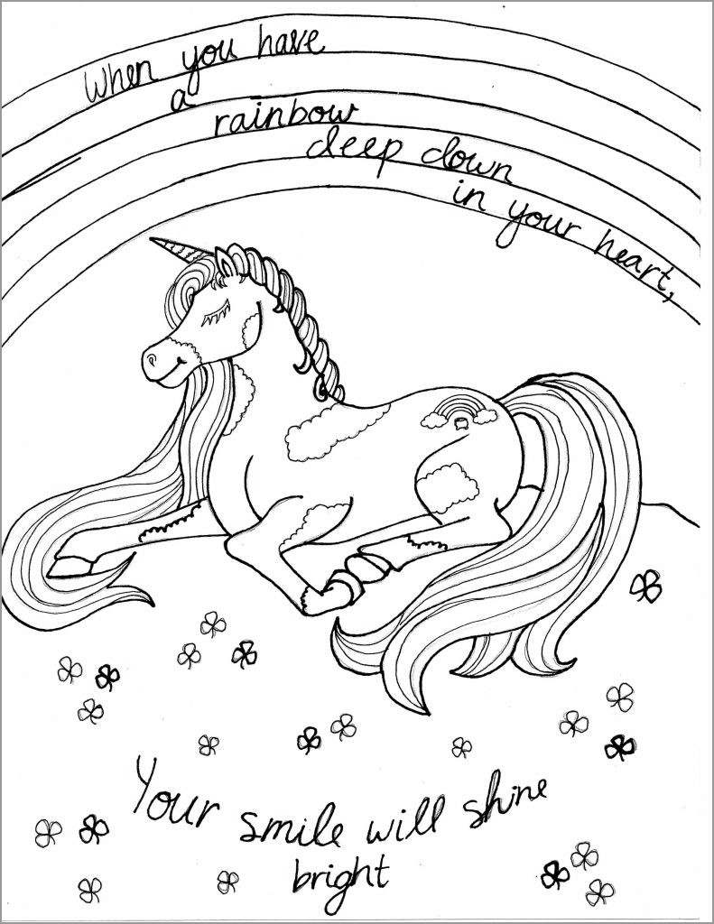 Unicorn Coloring Page Your Smile Will Shine