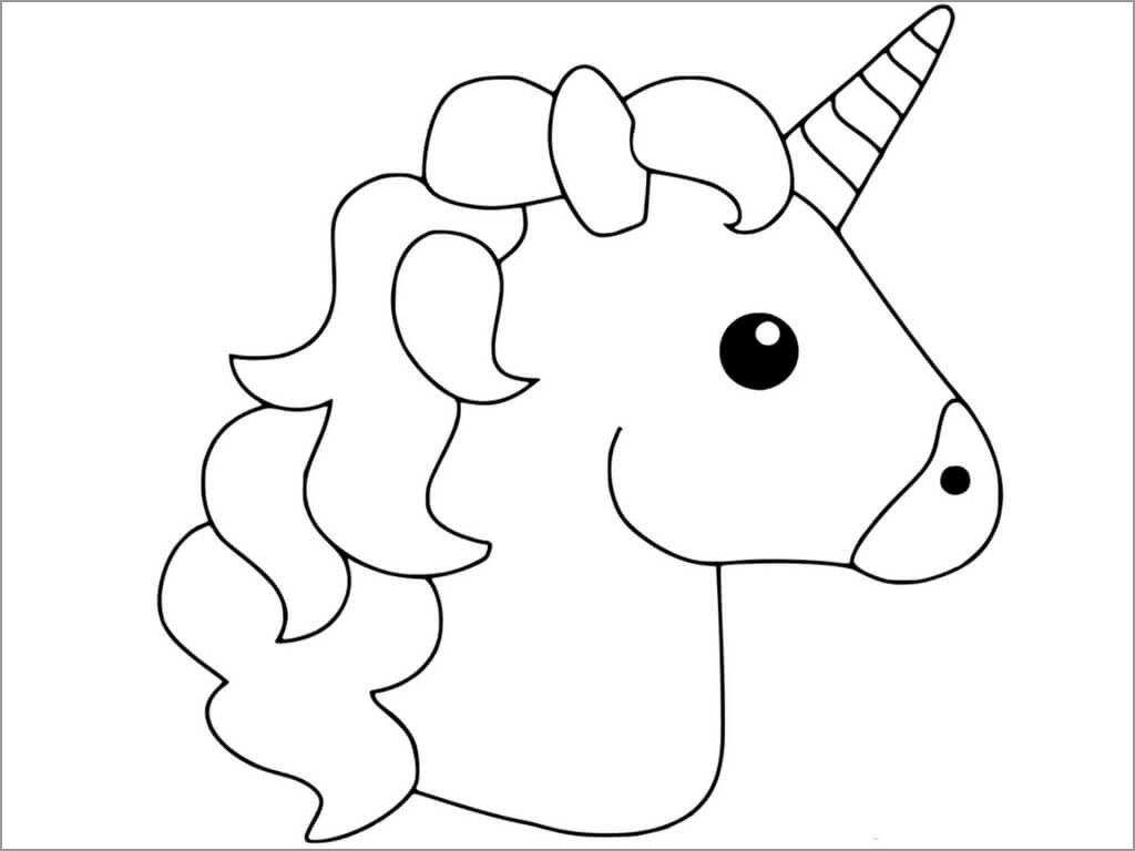 unicorn head coloring pages Unicorn Head Coloring Page   ColoringBay unicorn head coloring pages