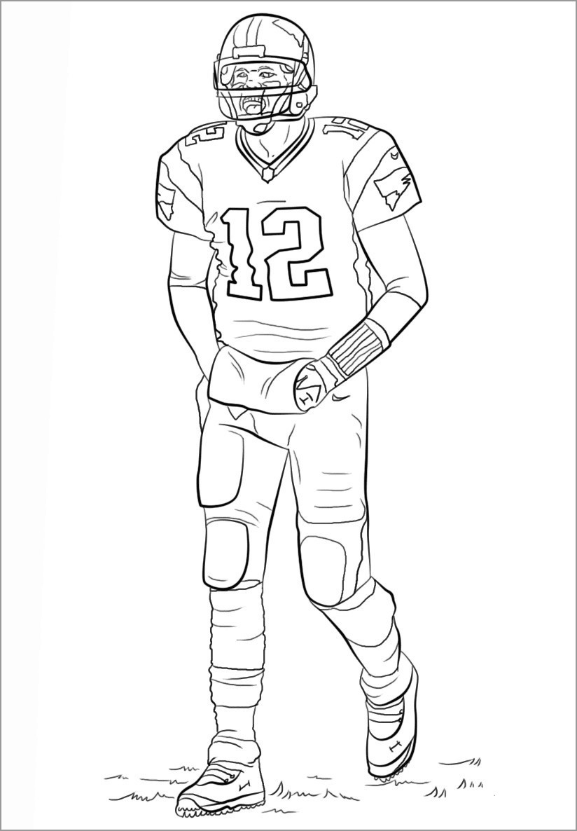 Walking American Football Player Coloring Page