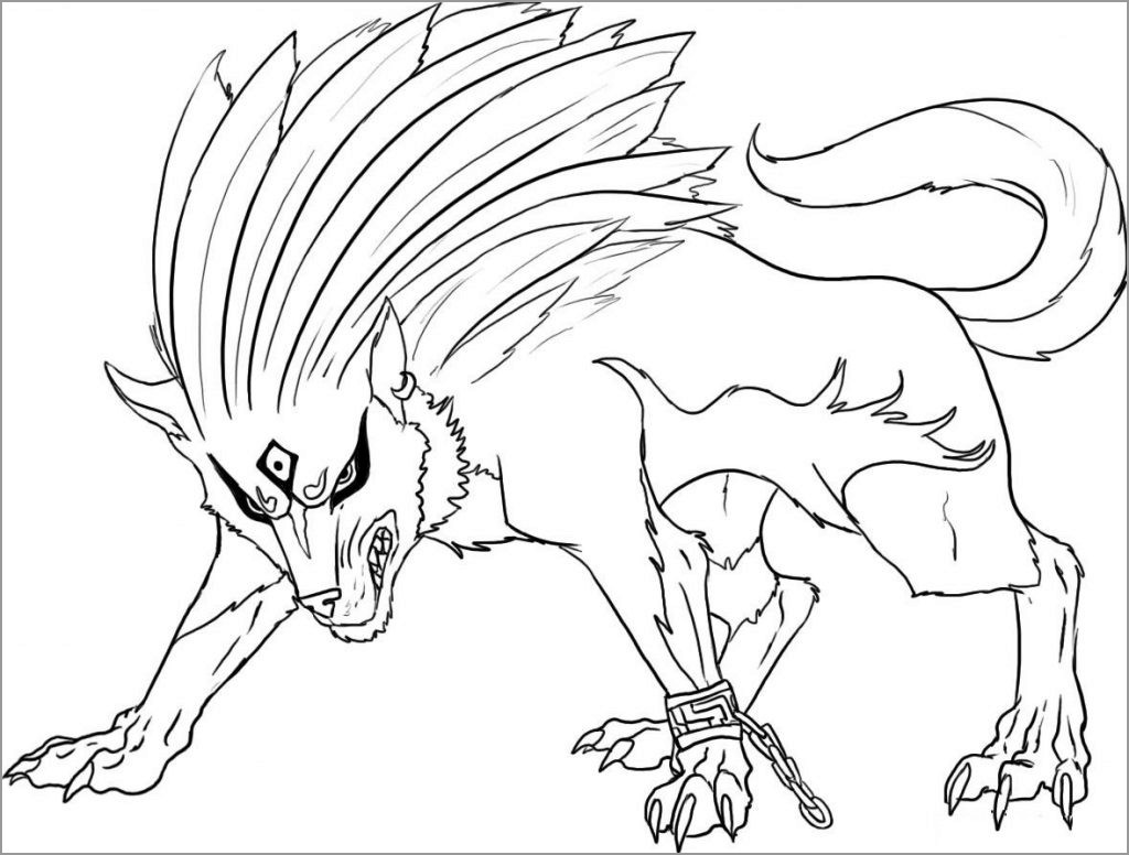 Wolf Anime Animal Coloring Page Coloringbay